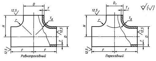 Тройники штампованные из углеродистой и низколегированной стали по ГОСТ 17376-2001, исп. 2, РN до 16 МПа включительно